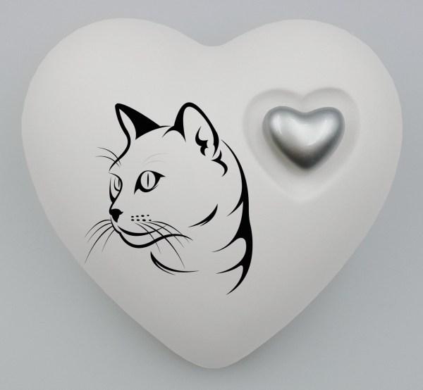 """Katzenurne Herz """"Katzensilhouette"""" in vielen Grundfarben"""