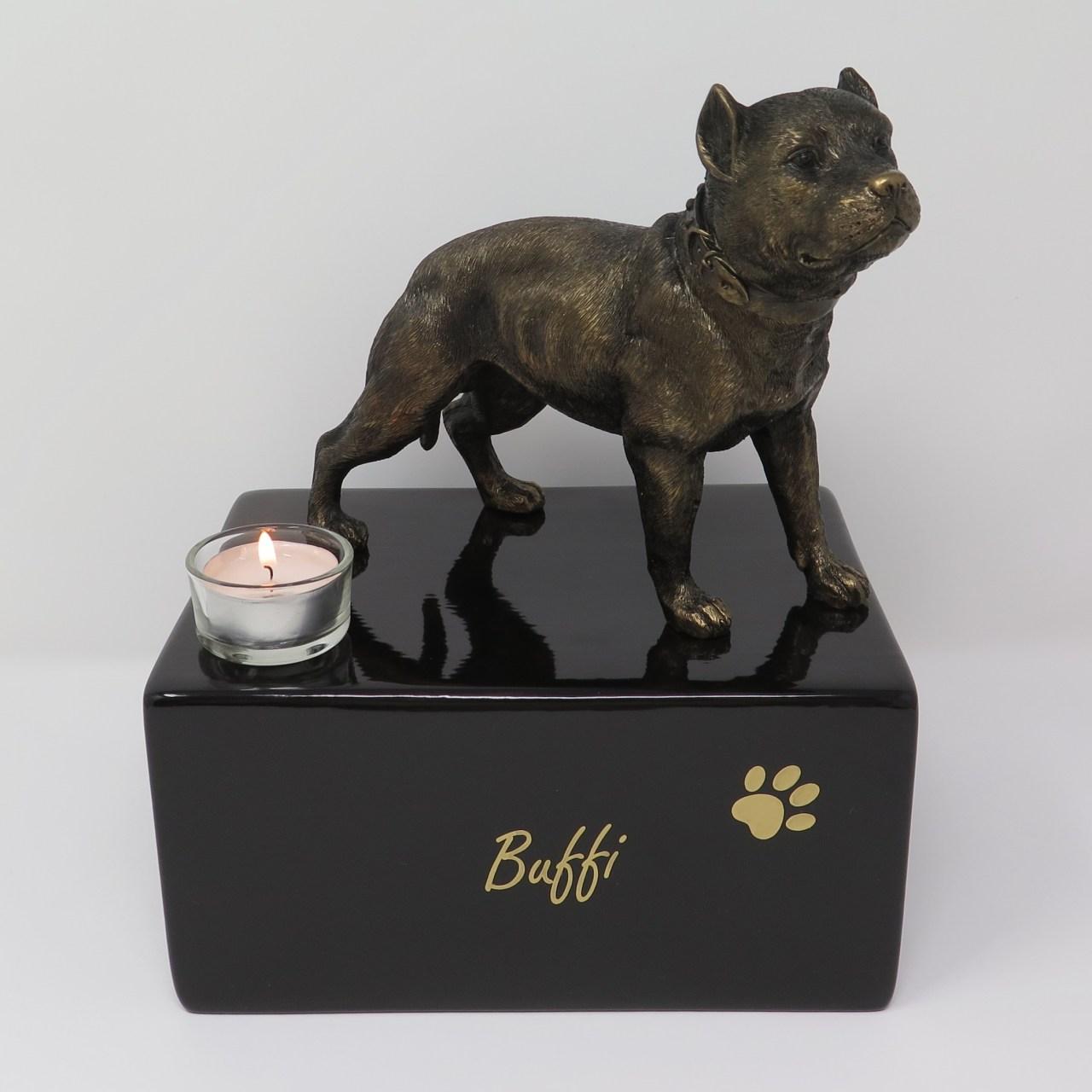 Pit Bull Urne mit Teelicht