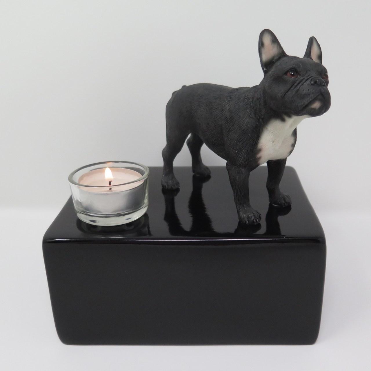 Französische Bulldogge Urne mit Teelicht Designurne