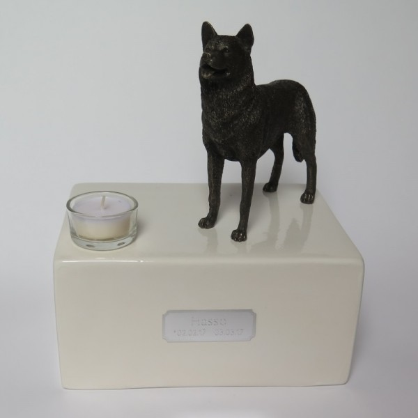 Siberian Husky Urne mit Teelicht