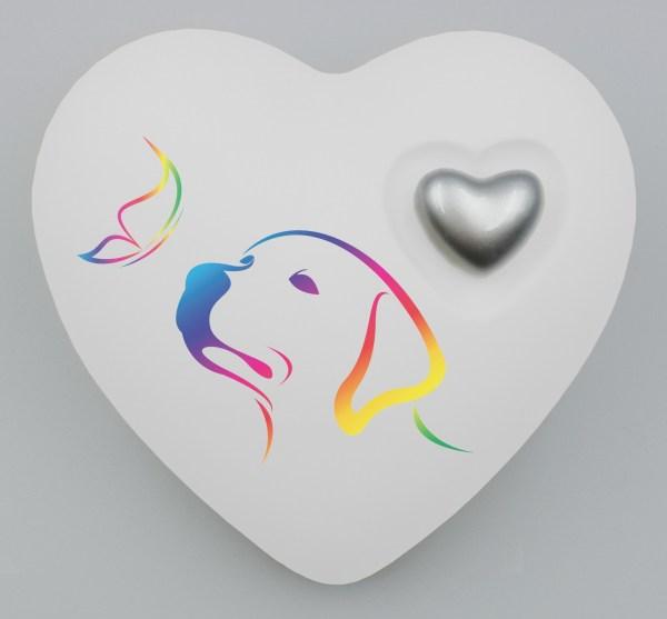 """Hundeurne Herz """"Regenbogenhund"""" in vielen Grundfarben"""