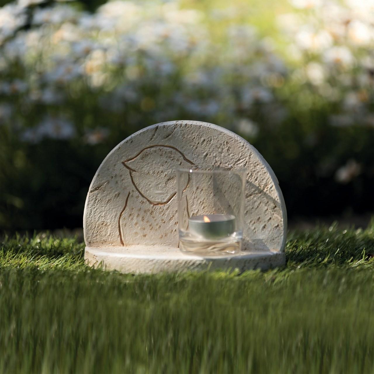 Gedenkstein mit Windlicht Creme