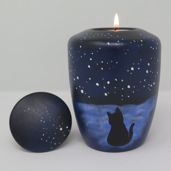 """Katzenurne mit Teelicht """"Katzenhimmel"""" Künstlerurne"""