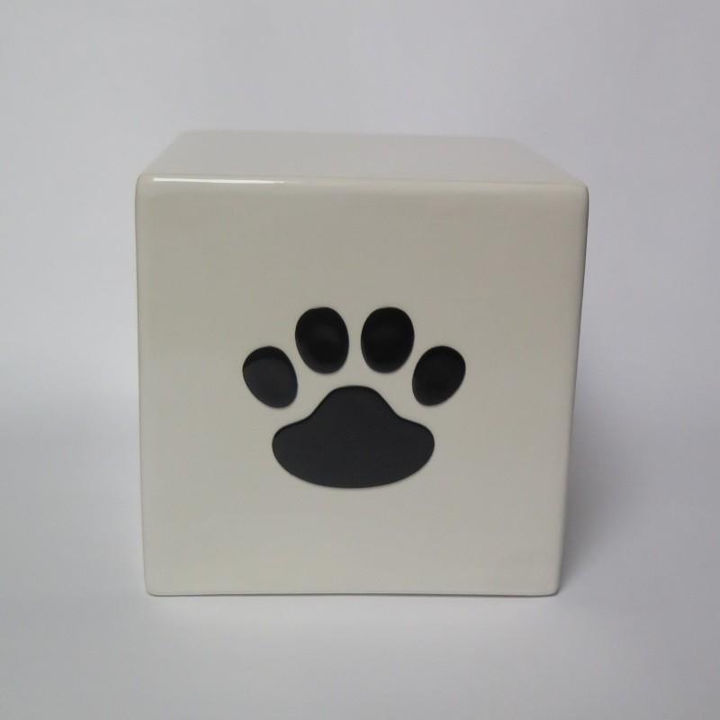 Tierurne Würfel Weiß mit schwarzer 3D Pfote