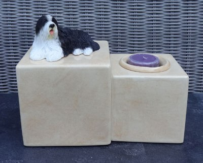 Bearded Collie Urne mit Kerze