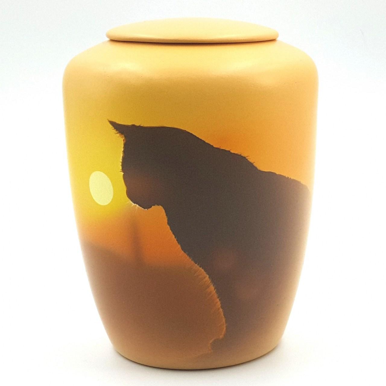 """Katzenurne mit Teelicht """"Katze im Sonnenuntergang"""""""
