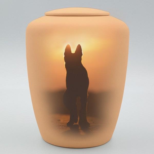 """Hundeurne mit Teelicht """"Hund im Sonnenuntergang"""""""