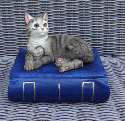"Katzenurne ""Katze auf Buch Grau"""