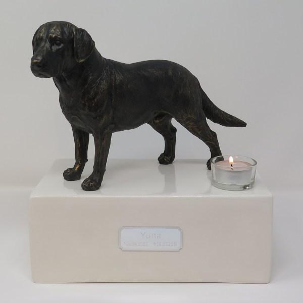 Labrador Urne mit Teelicht, stehend