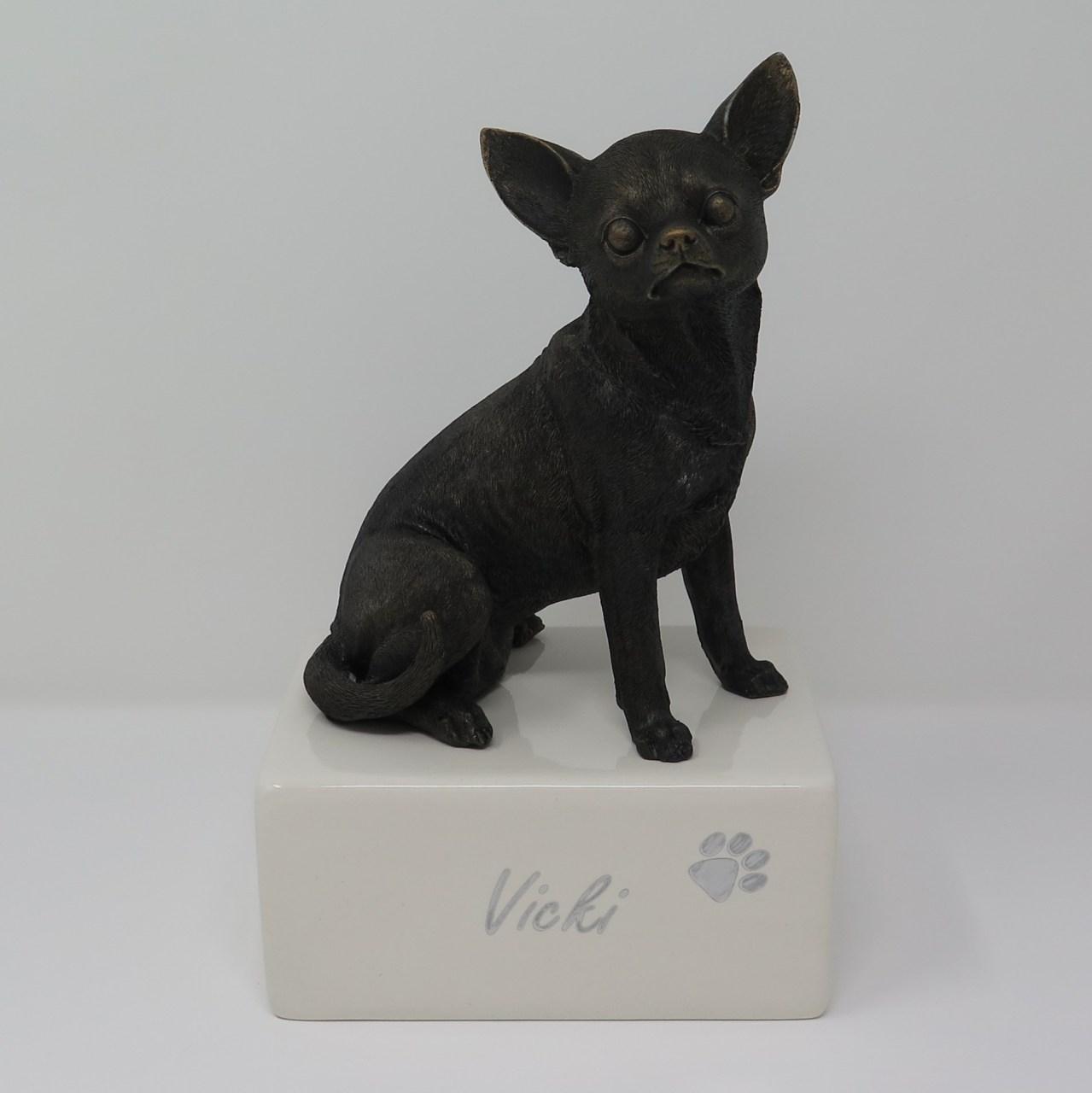 Chihuahua Urne Designurne mit großer Figur