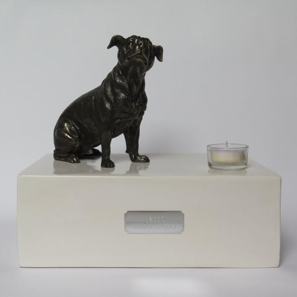 Staffordshire Bullterrier Urne mit Teelicht