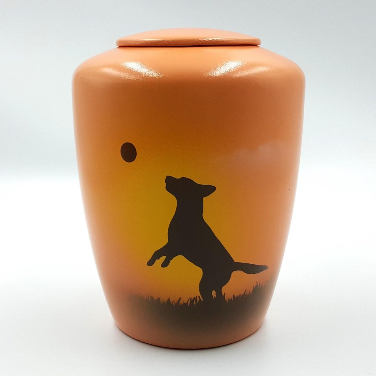 """Hundeurne mit Teelicht """"Hund mit Ball"""""""