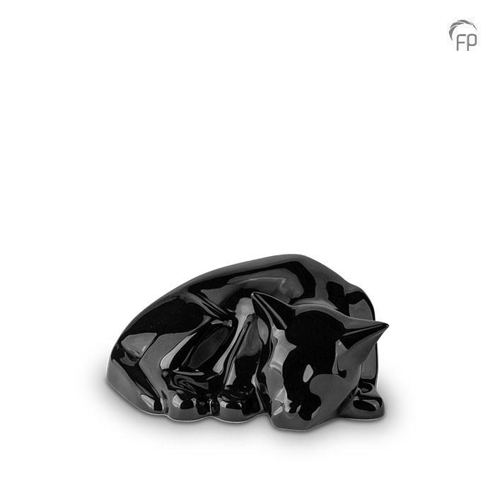 Katzenurne schlafende Katze in Schwarz glänzend