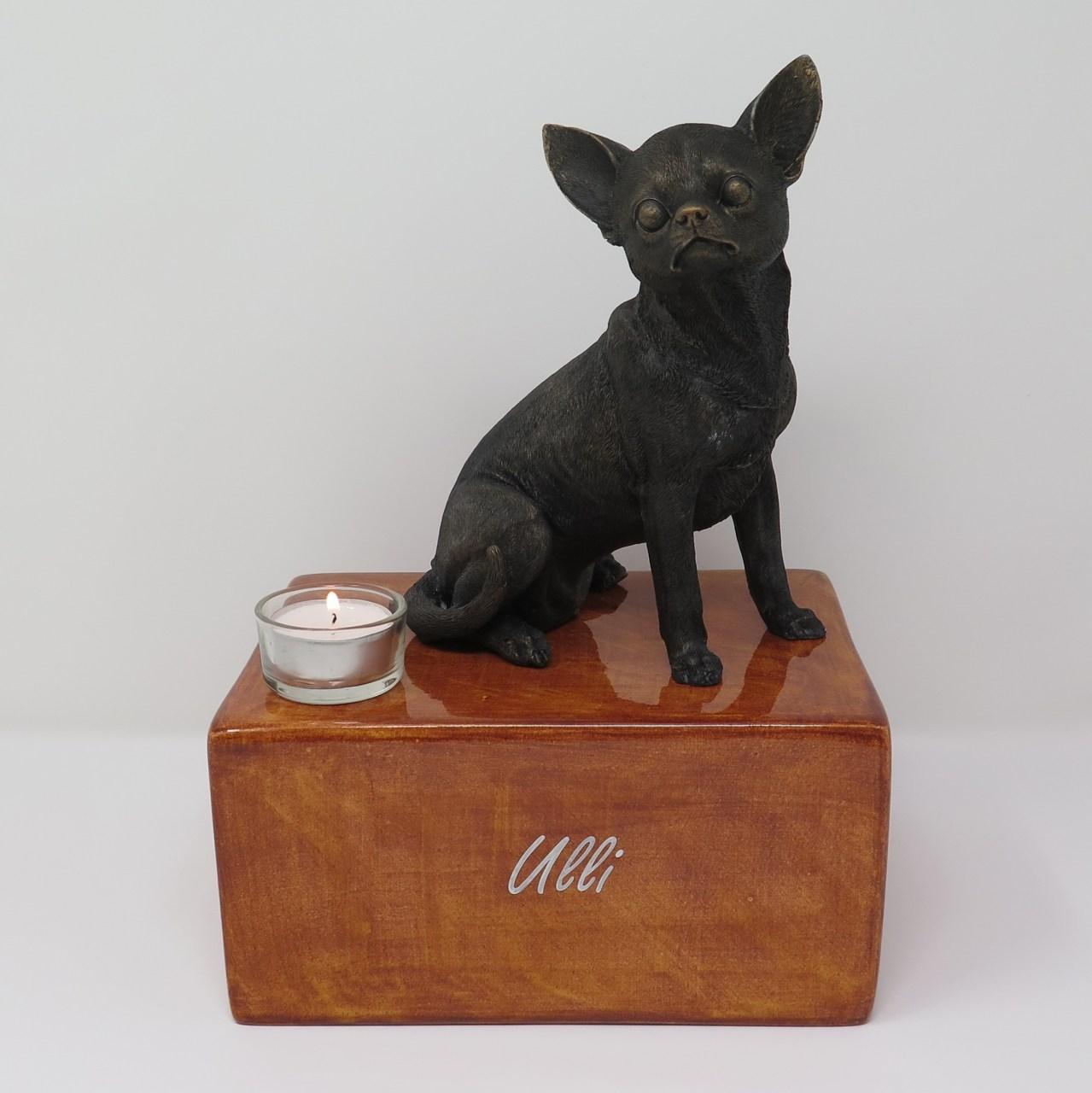 Chihuahua Urne Designurne mit großer Figur und Teelicht