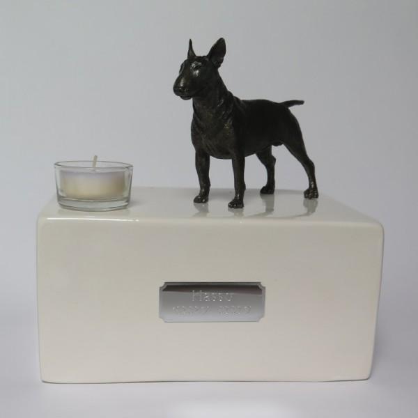 Bullterrier Urne mit Teelicht