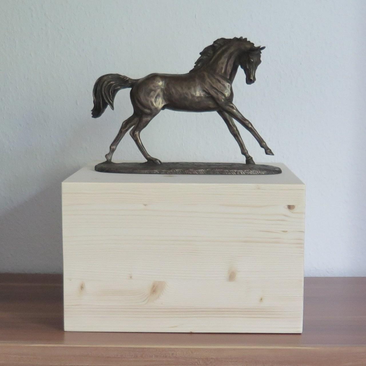 """Pferdeurne mit Bronzefigur & Teelicht """"Cube"""""""