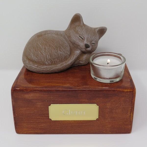 """Katzenurne mit Teelicht """"Stonecat"""" Braun-Sandel"""