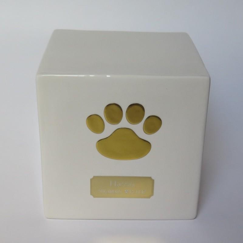 Tierurne Würfel Weiß mit goldener 3D Pfote