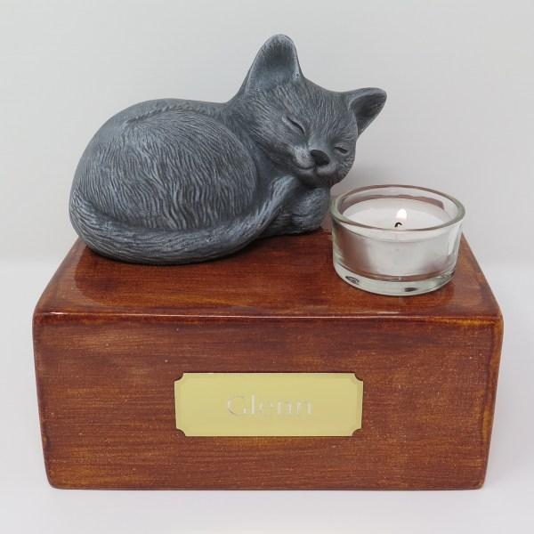 """Katzenurne mit Teelicht """"Stonecat"""" Grau-Sandel"""