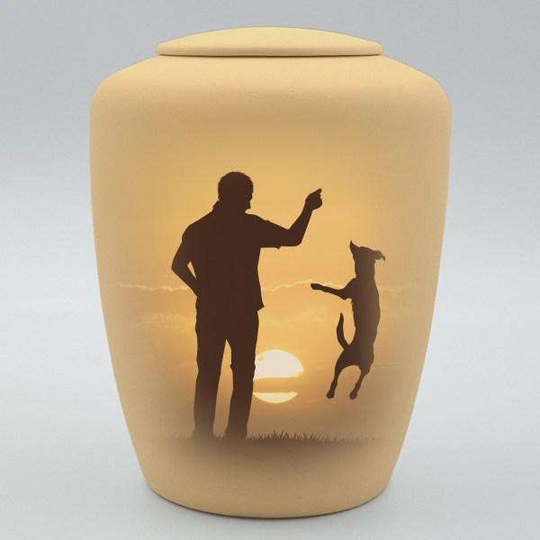 """Hundeurne mit Teelicht """"Spielen im Sonnenaufgang"""""""