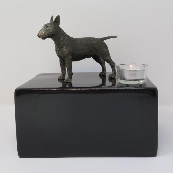 Bullterrier Urne mit Teelicht Designurne