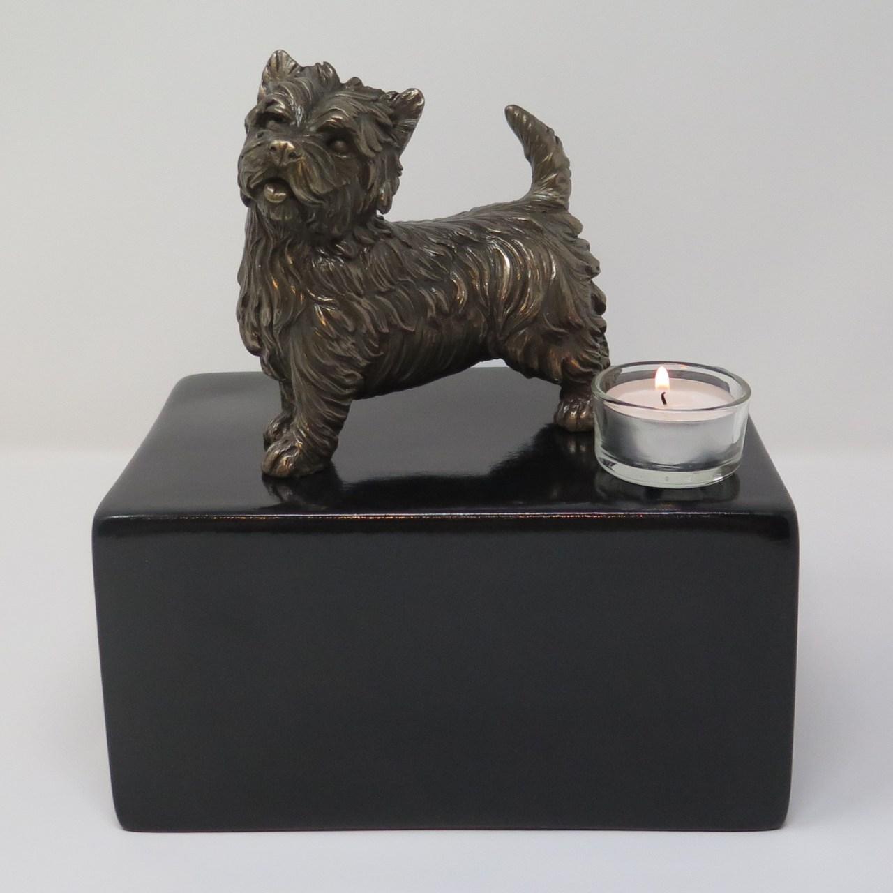 West Highland Terrier Urne mit Teelicht