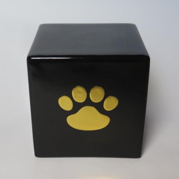 Tierurne Würfel Schwarz mit goldener 3D Pfote