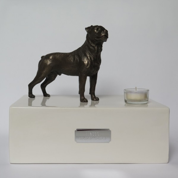 Rottweiler Urne mit Teelicht