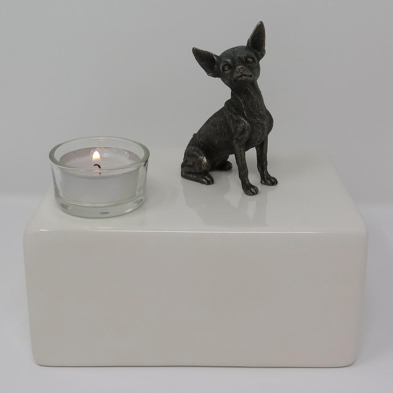 Chihuahua Urne mit Teelicht