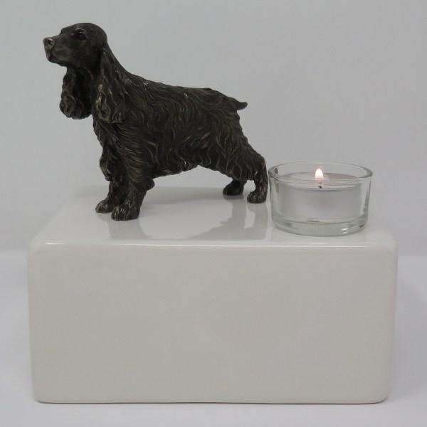 Cocker Spaniel Urne mit Teelicht Designurne