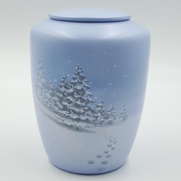 """Tierurne mit Teelicht """"Spuren im Schnee"""""""