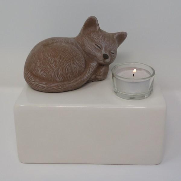 """Katzenurne mit Teelicht """"Stonecat"""" Braun-Weiß"""