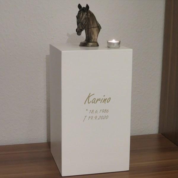 """Pferdeurne mit Bronzefigur & Teelicht """"Säule"""""""