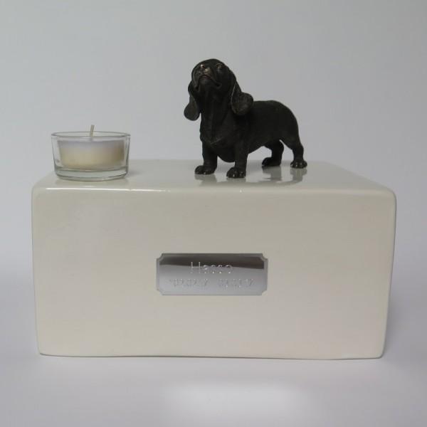 Dackel Urne mit Teelicht