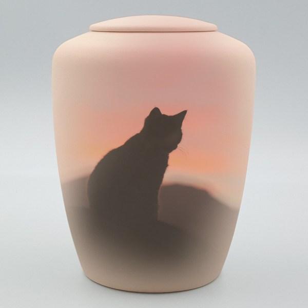"""Katzenurne mit Teelicht """"Katze im Sonnenaufgang"""""""