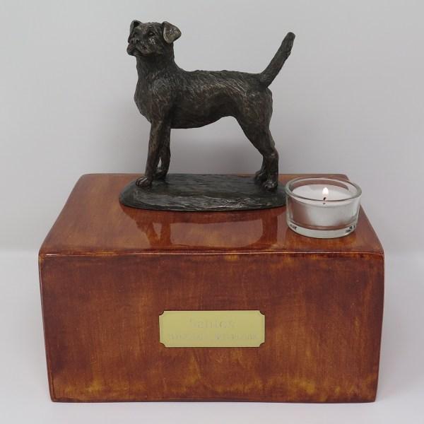 Border Terrier Urne mit Teelicht
