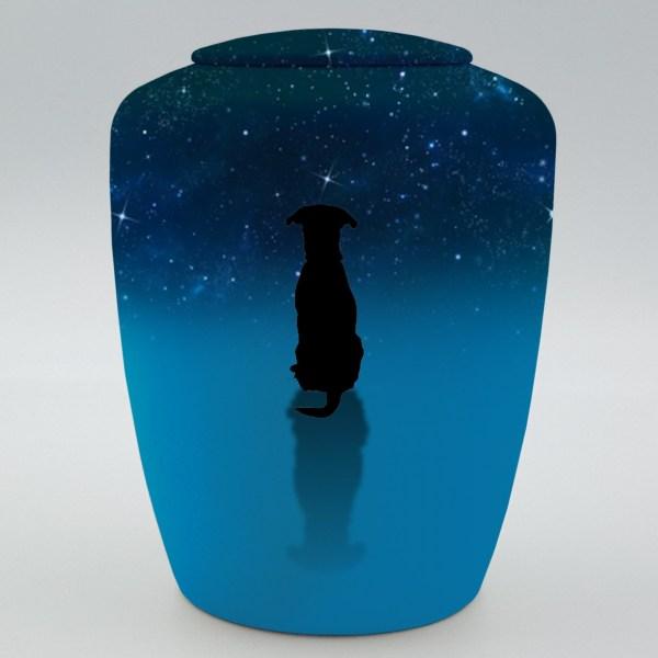 """Hundeurne mit Teelicht """"Hund im Sternenhimmel"""""""