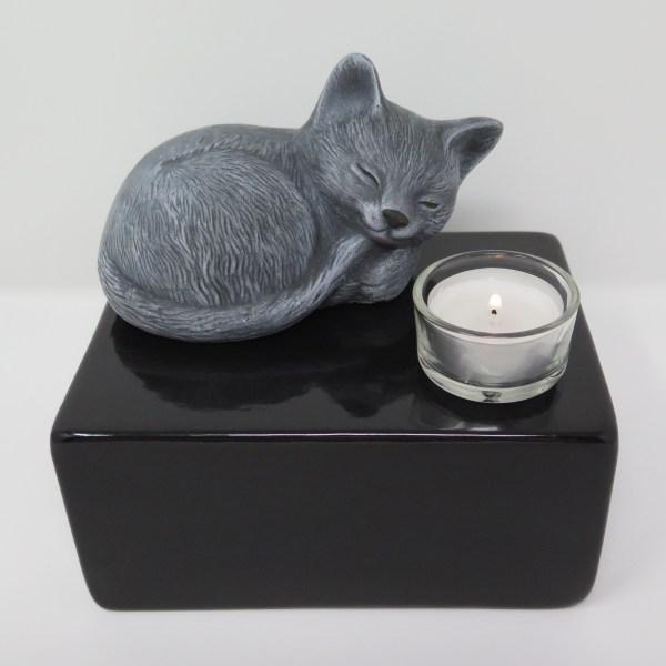 """Katzenurne mit Teelicht """"Stonecat"""" Grau-Schwarz"""