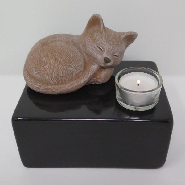 """Katzenurne mit Teelicht """"Stonecat"""" Braun-Schwarz"""