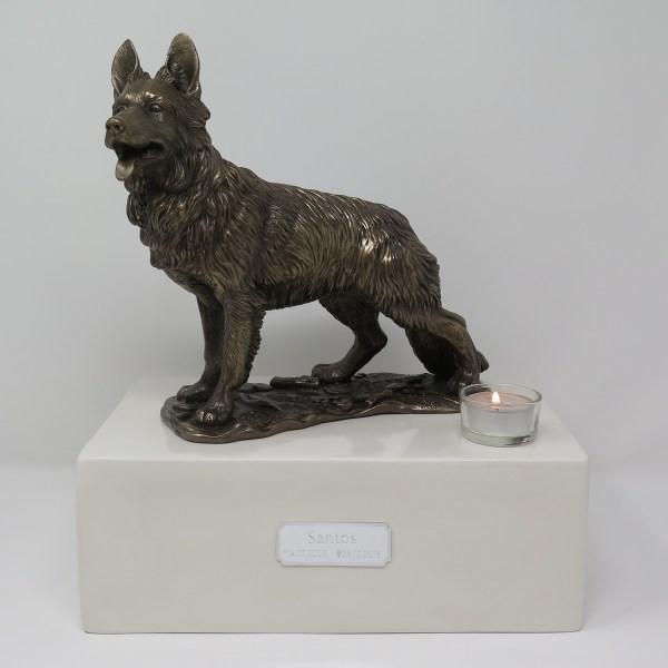 Deutscher Schäferhund Urne mit Teelicht